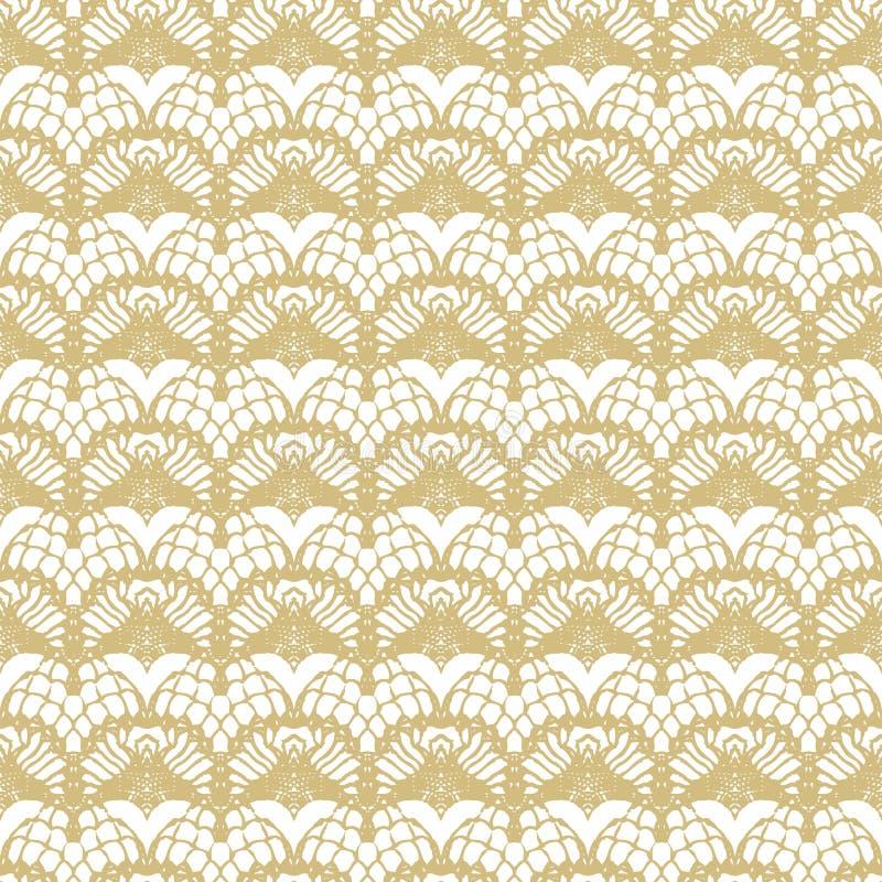 Blanco y modelo inconsútil de las rayas del cordón del oro ilustración del vector