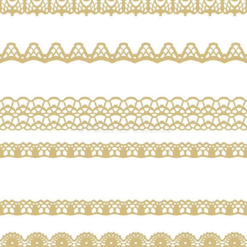 Blanco y modelo inconsútil de las rayas del cordón del oro stock de ilustración