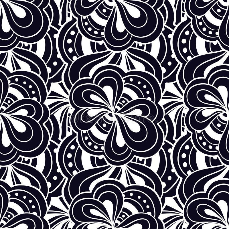 Blanco y negro abstracto dibujada mano del garabato del vector ilustración del vector