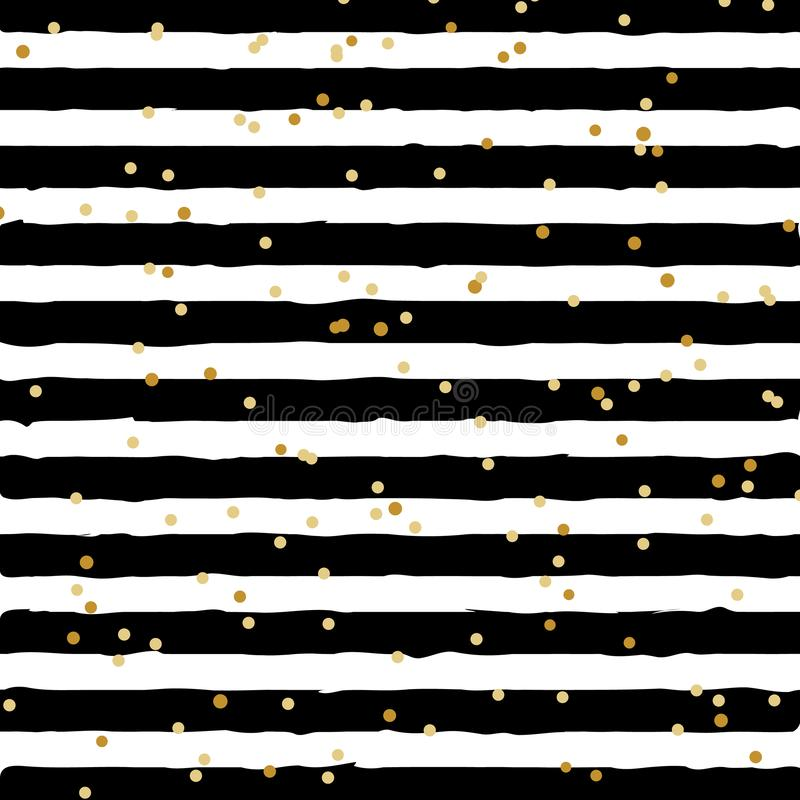 Blanco y negro abstracto rayado en fondo de moda con el modelo de puntos al azar de la hoja de oro Usted puede utilizar para la t libre illustration