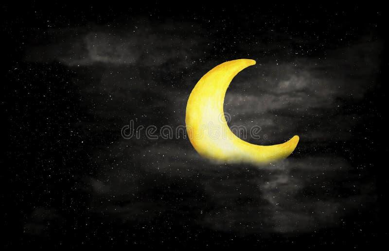 Blanco y negro del cielo nocturno con la luna y las estrellas crecientes libre illustration
