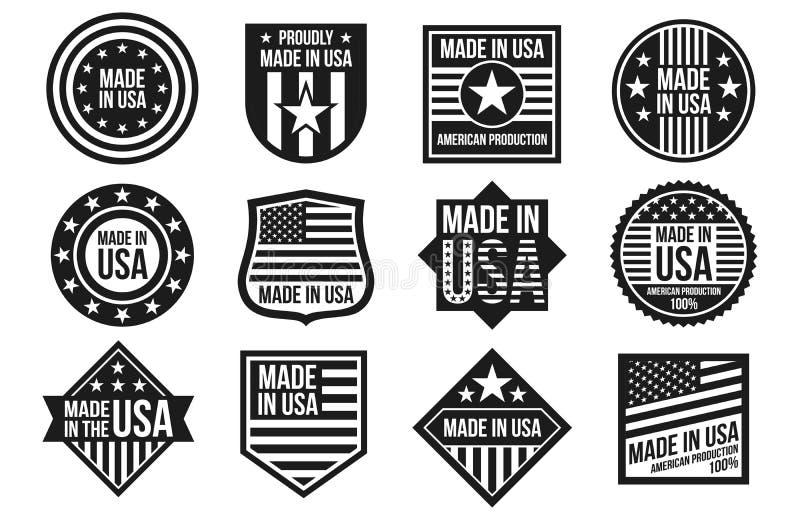 Blanco y negro hecho en las insignias de los E.E.U.U., las banderas y vector de las etiquetas aislados en el fondo blanco libre illustration