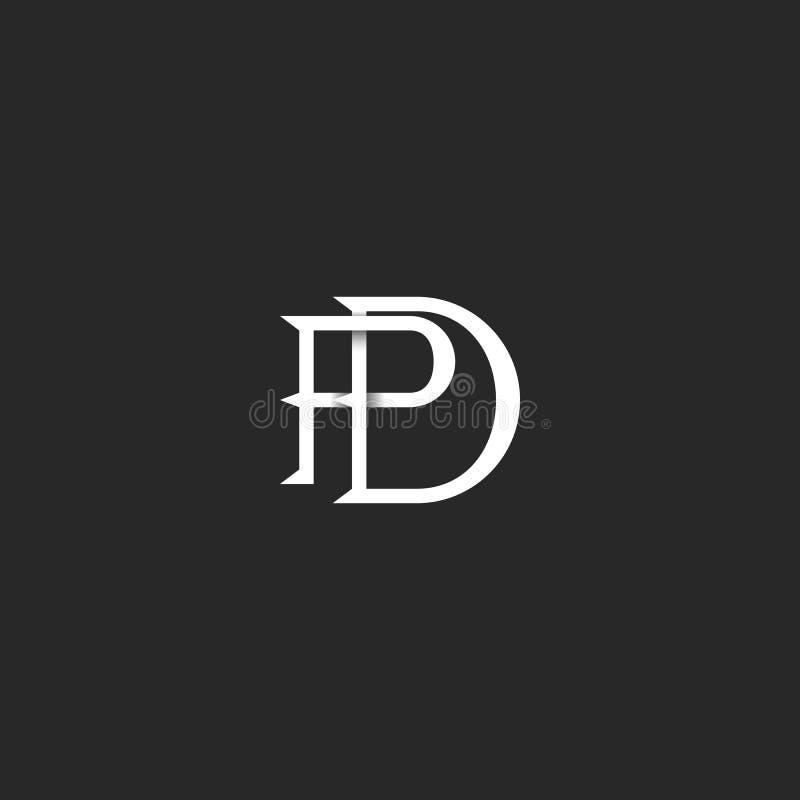 Blanco y negro linear de las iniciales del monograma del logotipo del paladio de las letras, coincidiendo dos emblemas ligados de stock de ilustración