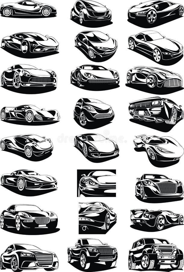 Blanco y negro mis coches diseñados originales stock de ilustración