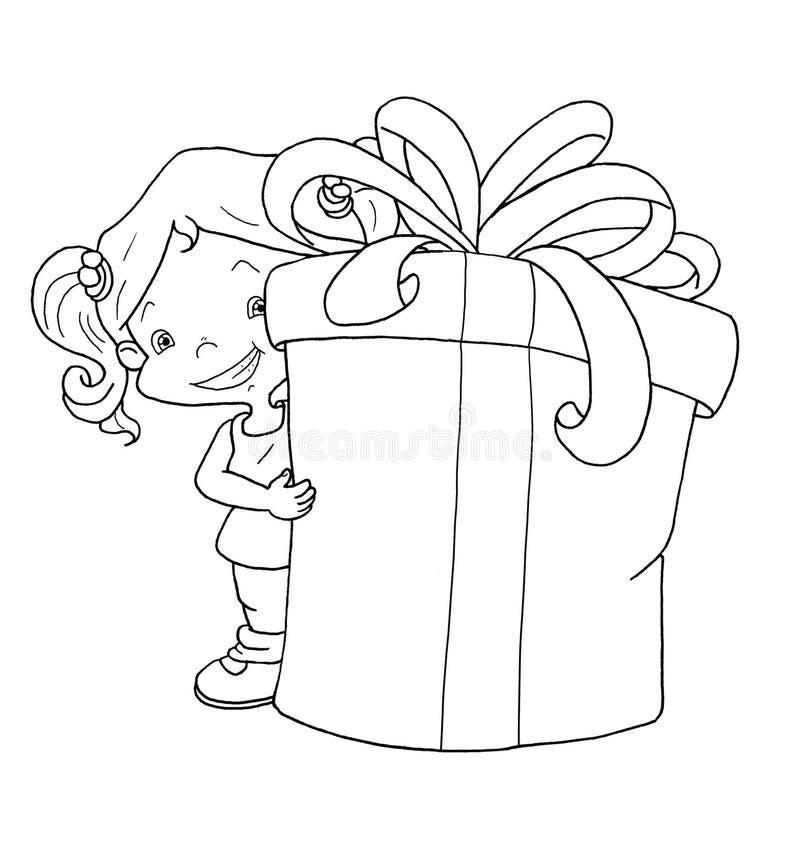 Blanco y negro - niño con el regalo stock de ilustración