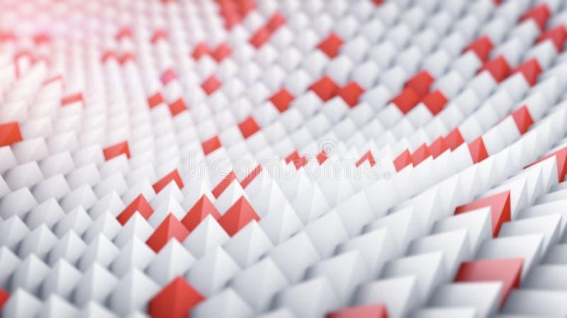 Blanco y rojo enarbola la superficie ondulada 3d rinden stock de ilustración