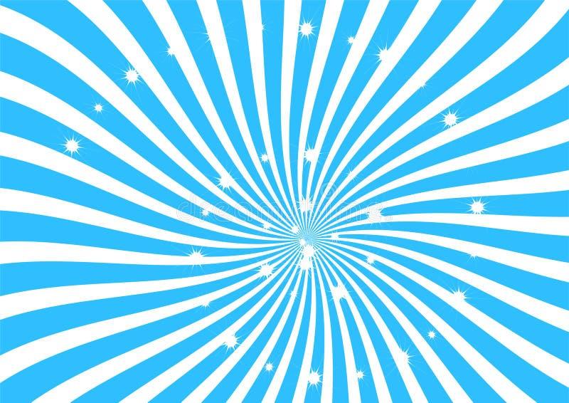 Blanco y tiras azules del remolino con el clipart chispeante de las estrellas, el papel pintado abstracto de la textura, la bande libre illustration