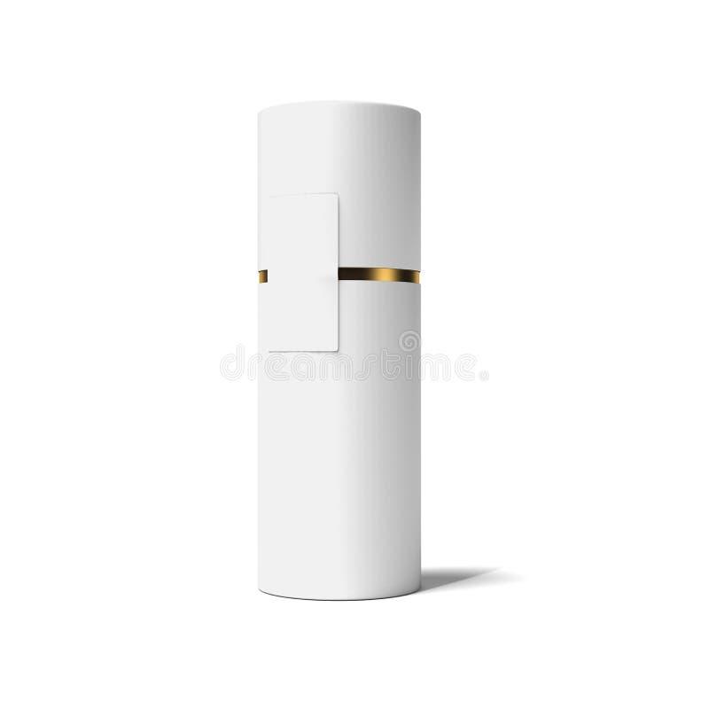 Blanco y tubo del oro representación 3d stock de ilustración
