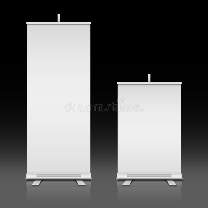 Blancos en blanco ruedan las banderas del vector que se levantan fijadas stock de ilustración