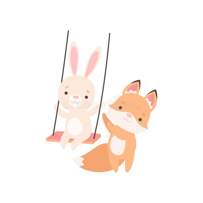 Blancos preciosos poco Bunny Swinging en el oscilación de la cuerda, conejo adorable y Fox Cub son ejemplo del vector de los mejo stock de ilustración