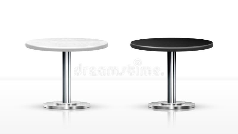Blancos realistas y ennegrecen las mesas redondas de una pierna ilustración del vector