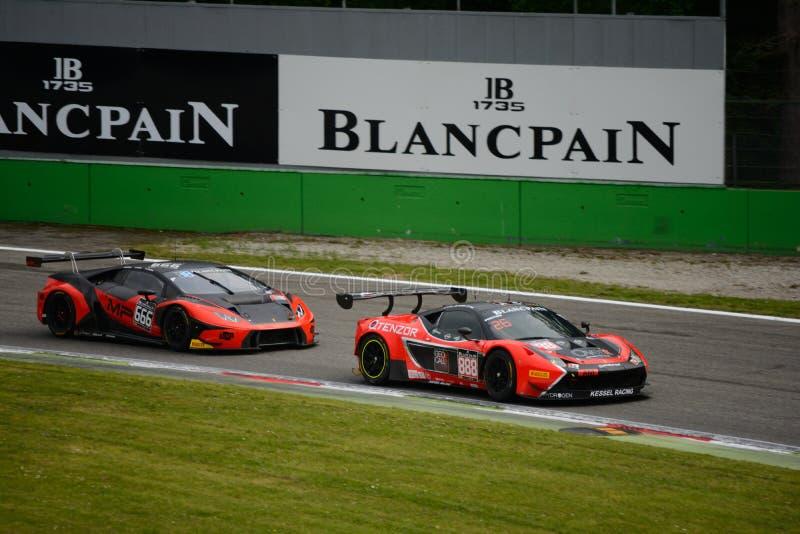 Blancpain GT系列法拉利458赛跑在蒙扎的意大利 免版税库存图片