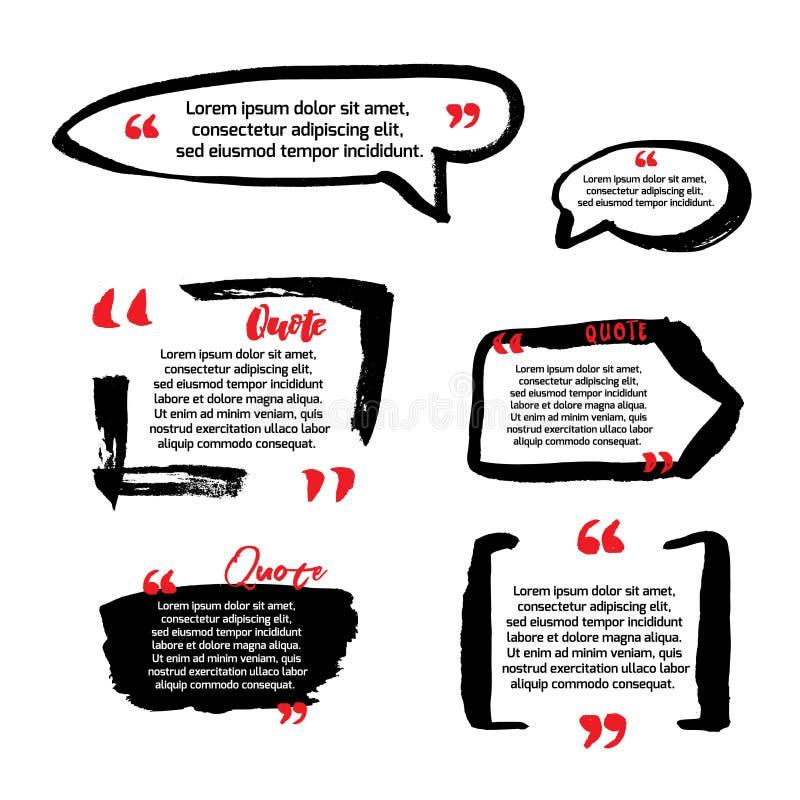 Blancs de citation avec la bulle des textes avec des virgules Ensemble de vecteur de templat illustration libre de droits