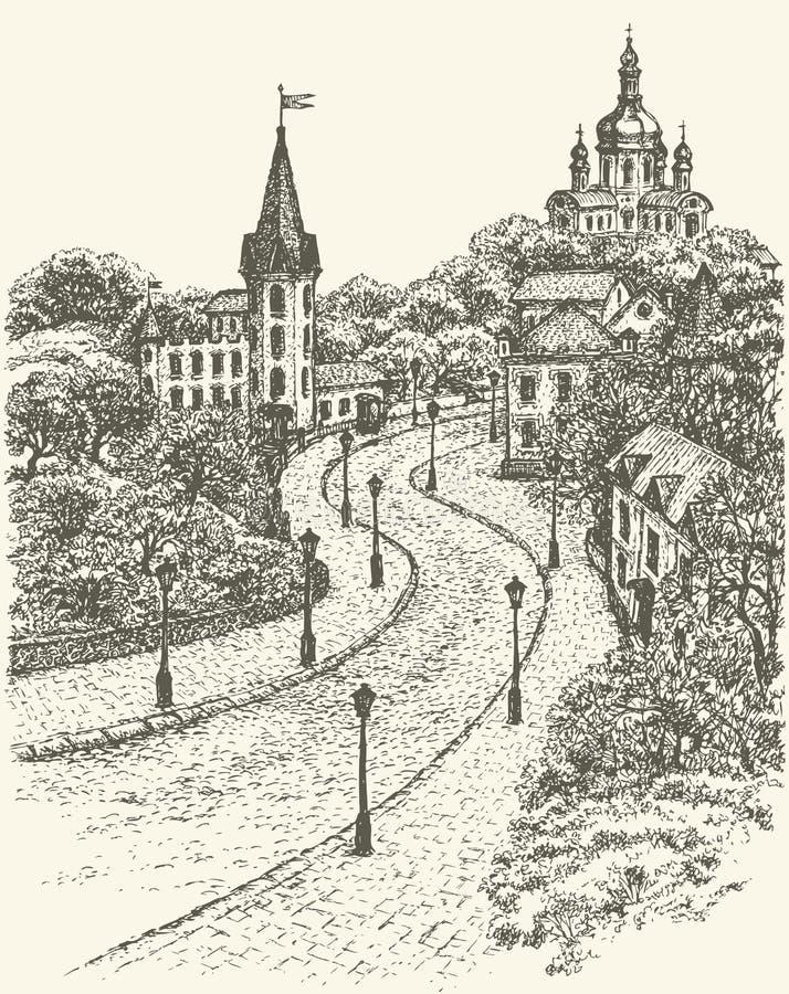 bland annat vektor för cityscapeeps-mapp Kyrka och slott på Andrew Descent i Kiev royaltyfri illustrationer