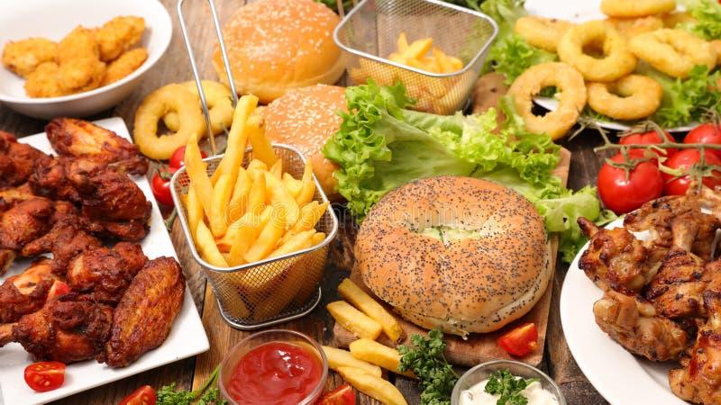 Blandad amerikansk mat, snabbmat royaltyfri foto