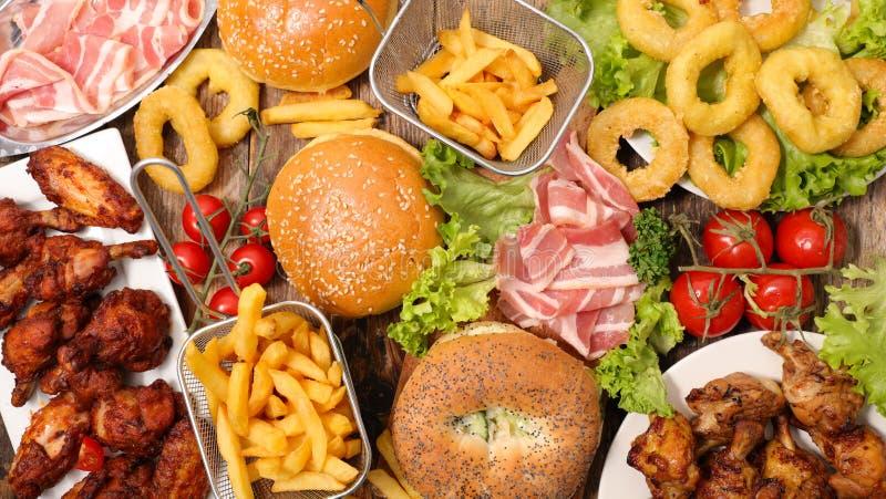 Blandad amerikansk mat, snabbmat royaltyfri fotografi