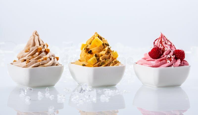 Blandad anstrykning fryste yoghurter på den vita bunken royaltyfria bilder
