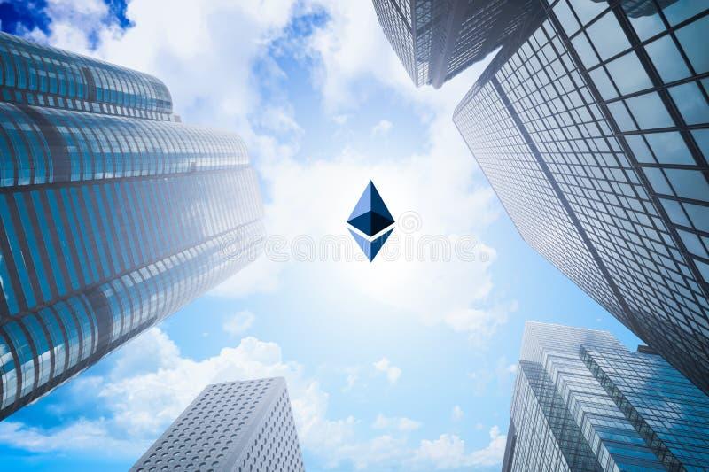 Blandad bild som är crypto valuta för ethereum och affärsbyggnad fotografering för bildbyråer