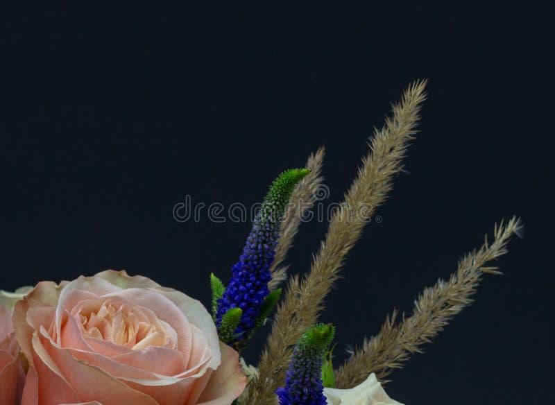 Blandad bukett av fritt utrymme för blommanärbild för din text royaltyfria foton