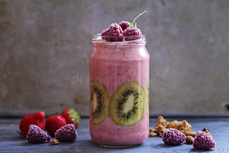 Blandad fruktsmoothie fotografering för bildbyråer