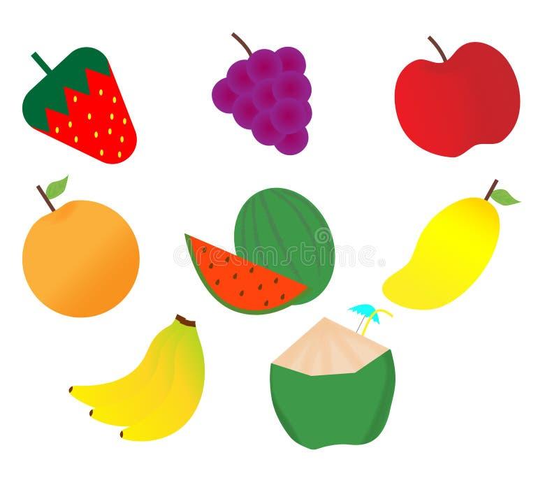 Blandad fruktvektor vektor illustrationer
