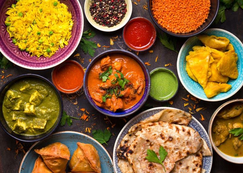 Blandad indisk mat arkivbilder