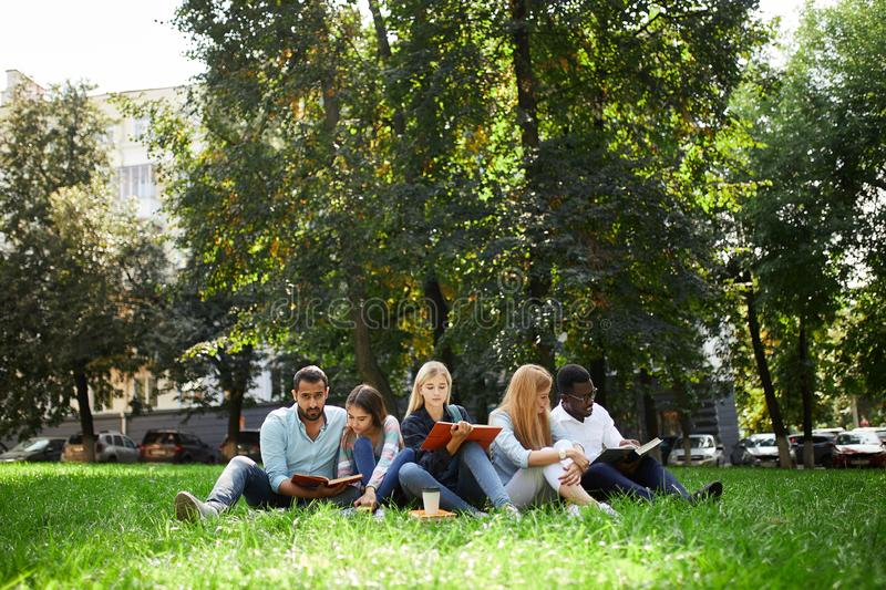 Blandad-lopp grupp av studenter som tillsammans sitter på grön gräsmatta av universitetsområdet arkivbilder