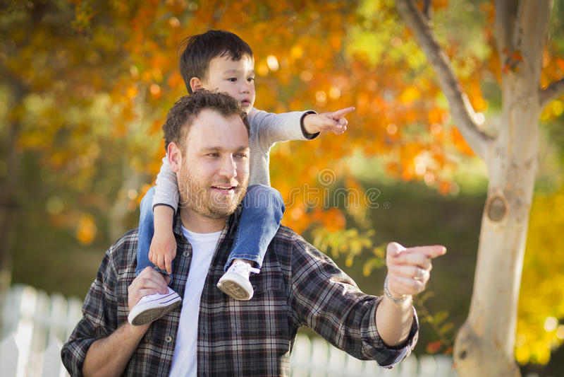 Blandad-lopp pojke med den Caucasian fadern som pekar och rider på skuldror royaltyfri fotografi