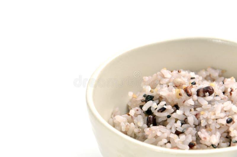 Blandad rice i japansk ricebunke arkivbild
