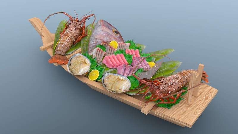 blandad sashimi arkivbild