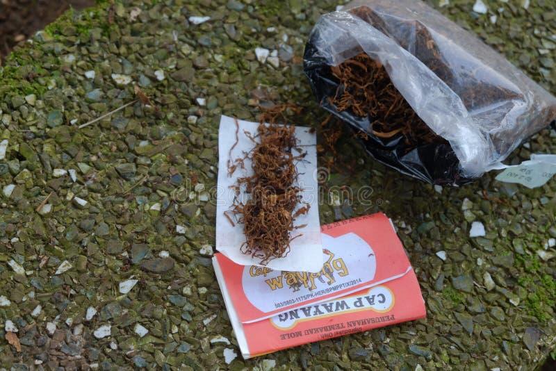 Blandad tobak som ?r klar att rulla fotografering för bildbyråer