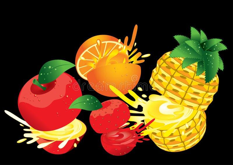 Blandad vektor för färgstänk för fruktfruktsaft royaltyfri illustrationer