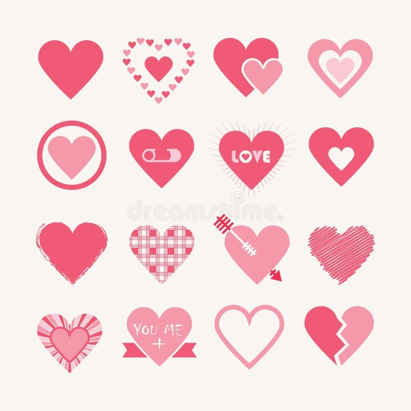 Blandade designer av den rosa hjärtasymbolsuppsättningen stock illustrationer