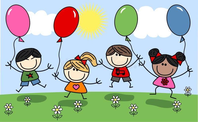 Blandade etniska barn stock illustrationer