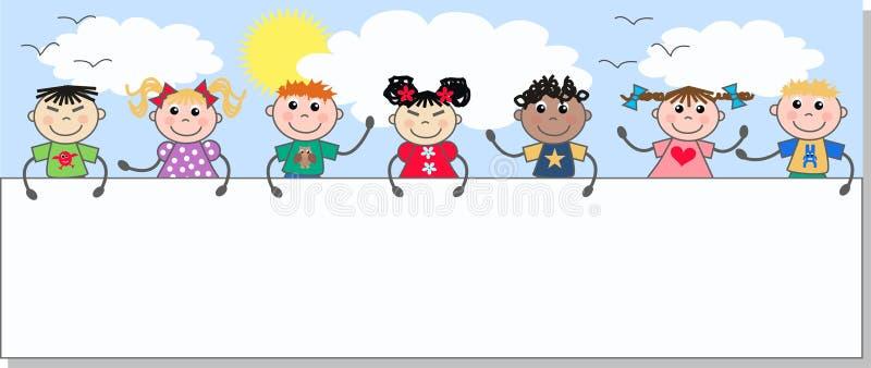blandade etniska ungar vektor illustrationer