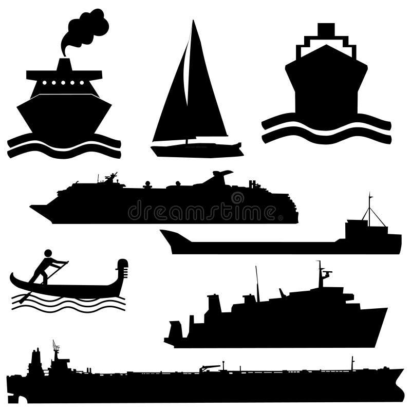 blandade fartygsilhouettes royaltyfri illustrationer