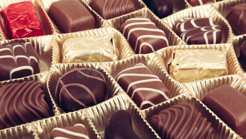 Blandade fina choklader royaltyfri bild