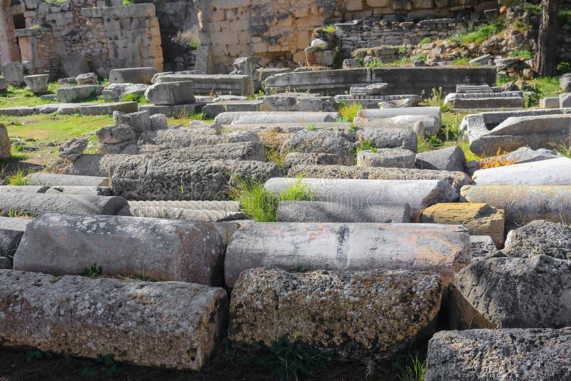 Blandade forntida arkeologiska pelare ställde upp på jordningen på Corinth Grekland - selektiv fokus royaltyfri foto