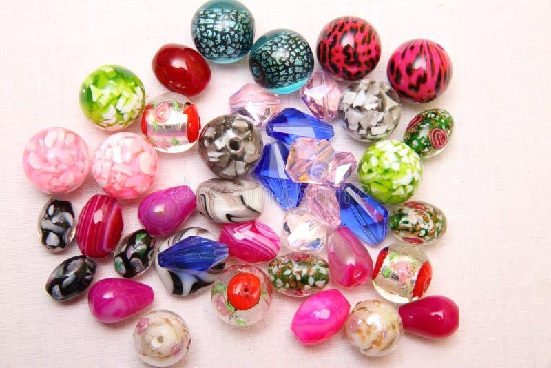 Blandade Glass smyckenpärlor arkivbild