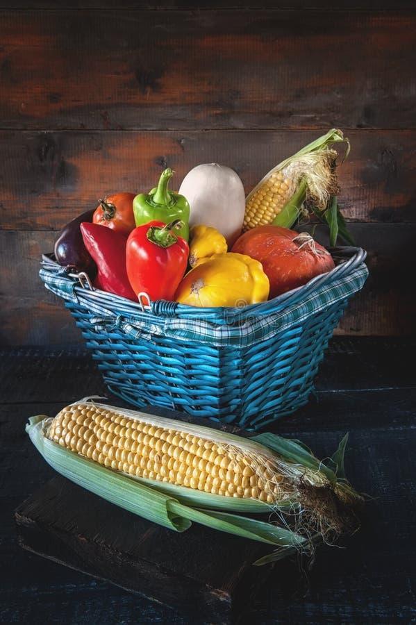 Blandade grönsaker, pumpor, zucchini, gurkor, tomater, vitlök, havre, pepparskörd i en härlig vide- korg royaltyfri bild