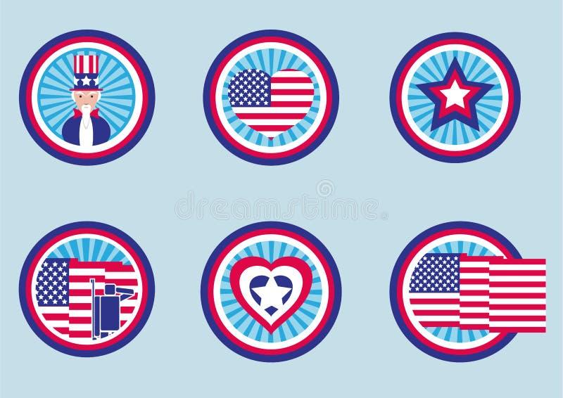 Blandade grafiska designer för USA-etiketter Pictogram/plan designstil royaltyfri illustrationer
