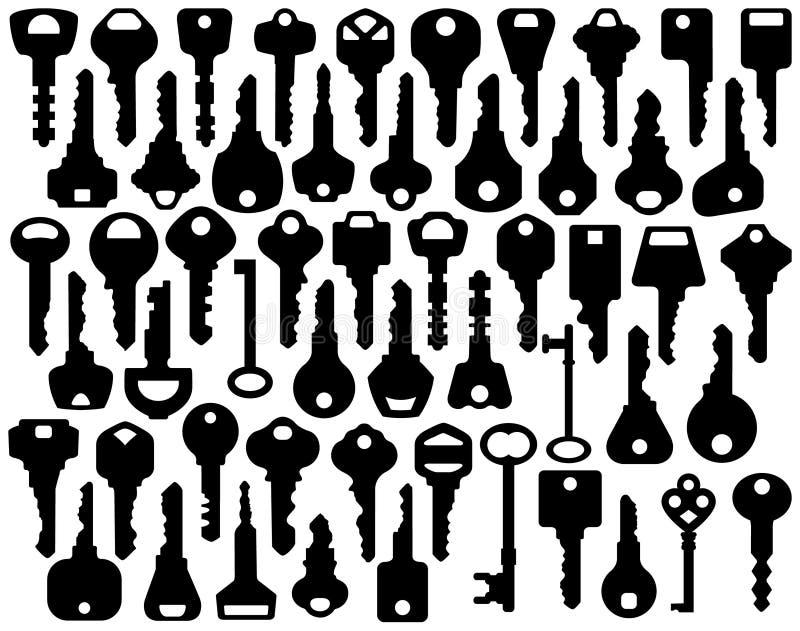 blandade key silhouettes royaltyfri illustrationer