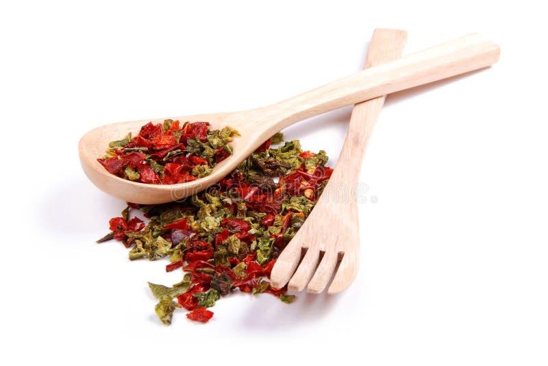 Blandade kryddor är olika variationer av peppar arkivfoto