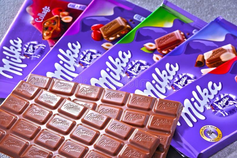 Blandade Milka choklader royaltyfri fotografi
