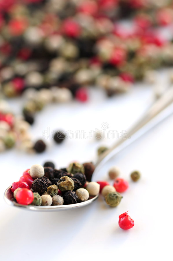 blandade peppercorns royaltyfria foton