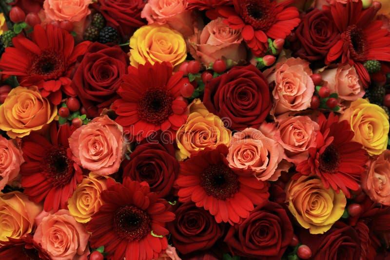 Blandade rosa bröllopblommor royaltyfria foton