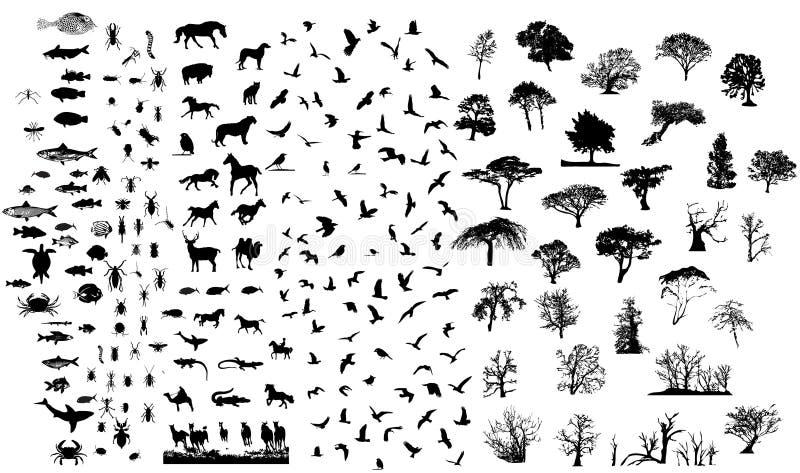blandade setsilhouettes vektor illustrationer