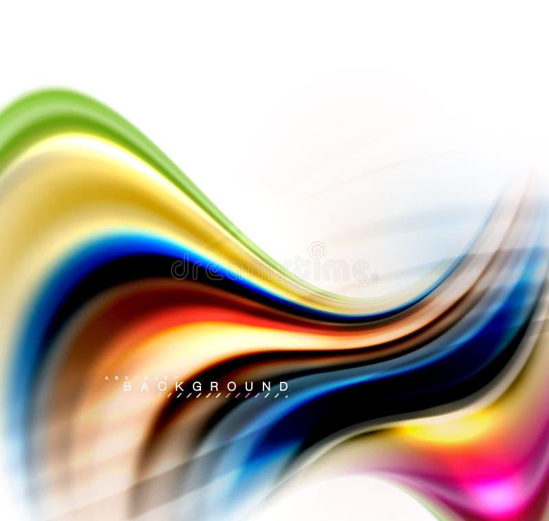 Blandande färgbegrepp för fluid flytande på ljus - den gråa bakgrund, vågen och virveln buktar flödeslinjen, moderiktig abstrakt  stock illustrationer