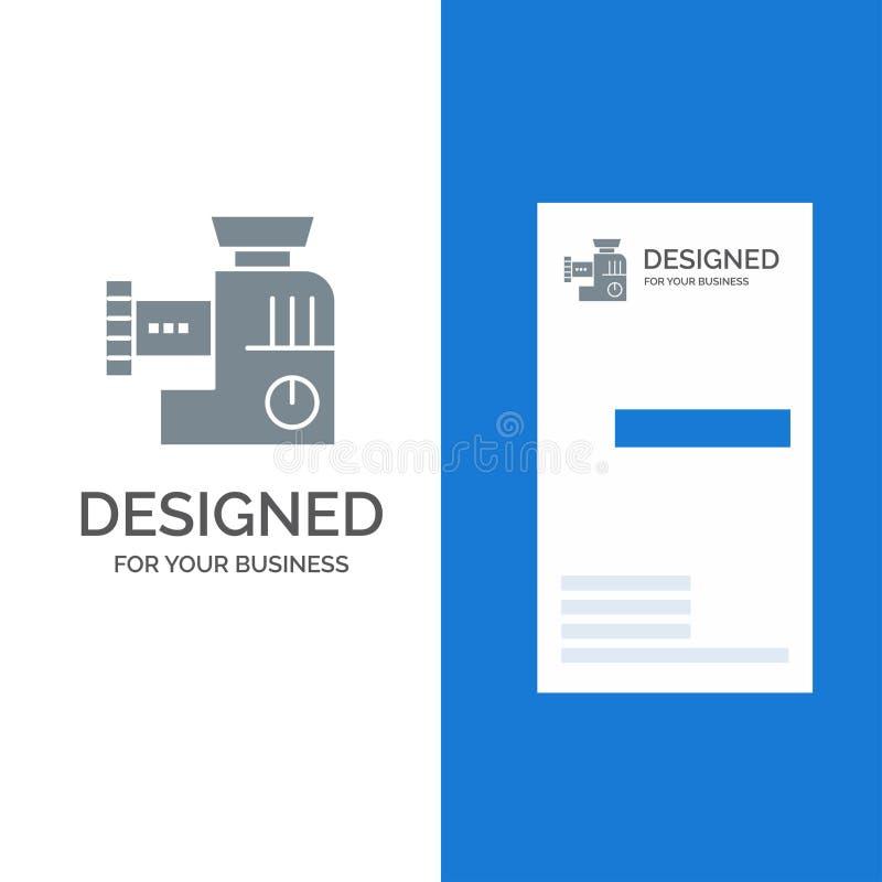 Blandare, kök, handbok, blandning Grey Logo Design och mall för affärskort royaltyfri illustrationer