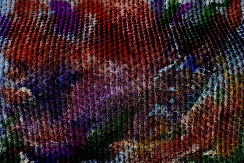 Blandat massmedia konstverk, abstrakt färgrikt konstnärligt målat lager i röd purpurfärgad färgpalett på prickig textur för grung royaltyfri bild